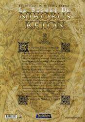 Une aventure de domenico t.1 ; le secret de nikobus keton - 4ème de couverture - Format classique