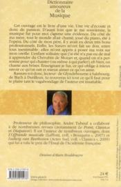 Dictionnaire amoureux de la musique - 4ème de couverture - Format classique