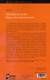 Gouverner les pauvres ; politiques sociales et administration du mérite - 4ème de couverture - Format classique