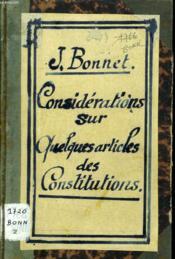 Considerations Sur Quelques Articles Des Constitutions - Couverture - Format classique