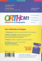 CM1 ; réussir en orthographe - 4ème de couverture - Format classique