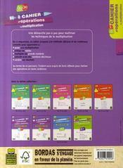 Cahier d'operations ; la multiplication ; du CE2 au CM2 - 4ème de couverture - Format classique
