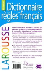 Dictionnaire des règles du français - 4ème de couverture - Format classique