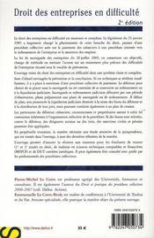Droit du commerce et des affaires t.3 ; droit des entreprises en difficulté - 4ème de couverture - Format classique