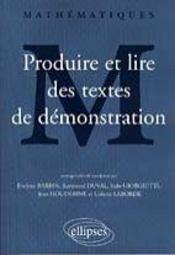 Produire Et Lire Des Textes De Demonstration Mathematiques - Intérieur - Format classique