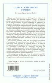 Aide A La Recherche D'Emploi Des Conseils Pour Sauver - 4ème de couverture - Format classique
