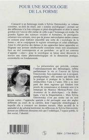 Pour une sociologie de la forme ; mélanges Sylvia Ostrowetsky - 4ème de couverture - Format classique