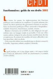 Fonctionnaires Guide De Vos Droits ; Edition 2002 - 4ème de couverture - Format classique