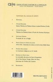 Mélanges carmelitains - 4ème de couverture - Format classique