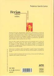 Ferias - 4ème de couverture - Format classique
