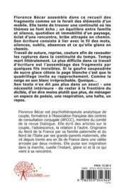 Les parois de l'oubli ; fragments - 4ème de couverture - Format classique
