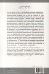 Phénomenologie de l'espace-temps chez Marc Richir - 4ème de couverture - Format classique