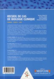 Recueil de cas de biologie clinique - 4ème de couverture - Format classique