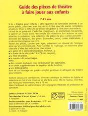 Guide Des Pieces De Theatre A Faire Jouer Aux Enfants 7-13 Ans - 4ème de couverture - Format classique
