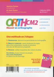 CM2 ; réussir en orthographe - 4ème de couverture - Format classique