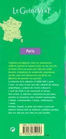 LE GUIDE VERT T.352 ; Paris - 4ème de couverture - Format classique