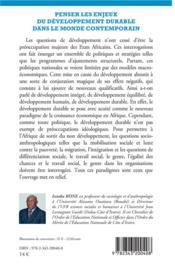 Penser les enjeux du développement durable dans le monde contemporain - 4ème de couverture - Format classique
