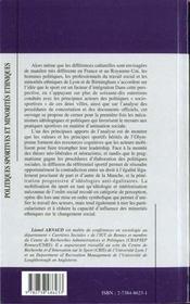 Politiques Sportives Et Minorites Ethniques - 4ème de couverture - Format classique
