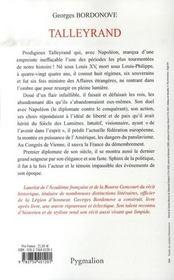 Talleyrand - 4ème de couverture - Format classique