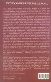 Anthologie de Pierre Leroux ; inventeur du socialisme - 4ème de couverture - Format classique