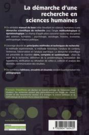 La démarche d'une recherche en sciences humaines ; de la question de départ à la communication des résultats (2e édition) - 4ème de couverture - Format classique