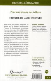 Histoire de l'architecture (6e édition) - 4ème de couverture - Format classique