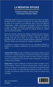 La médiation efficace ; eéolutions juridiques contemporaines et techniques d'influence inédites - 4ème de couverture - Format classique