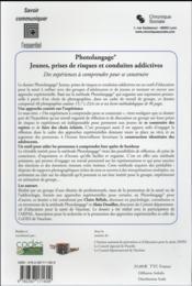 Photolangage ; jeunes, prises de risques et conduites addictives - 4ème de couverture - Format classique