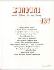 Revue L'Infini N.137 - Couverture - Format classique