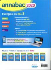 Annabac ; l'intégrale du bac S ; sujets & corrigés (édition 2020) - 4ème de couverture - Format classique