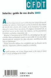 Salaries Guide De Vos Droits ; Edition 2002 - 4ème de couverture - Format classique
