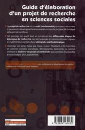 Guide d'élaboration d'un projet de recherche en sciences sociales (4e édition) - 4ème de couverture - Format classique