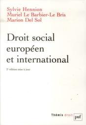 Droit social européen et international (2e édition) - Couverture - Format classique
