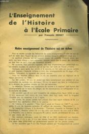 L'Enseignement De L'Histoire A L'Ecole Primaire - Couverture - Format classique