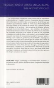 Négociations et crimes en col blanc ; immunités réciproques - 4ème de couverture - Format classique