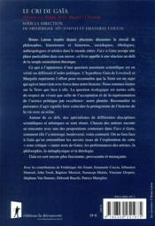 Le cri de Gaïa ; penser la Terre avec Bruno Latour - 4ème de couverture - Format classique