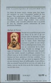 Apologie de Socrate - 4ème de couverture - Format classique