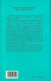 Pour Une Sociologie De La Reception - 4ème de couverture - Format classique