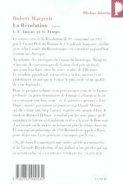 La Révolution t.1 ; l'amour et le temps - 4ème de couverture - Format classique