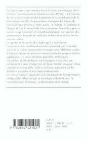 Georg Simmel Sociologue - 4ème de couverture - Format classique