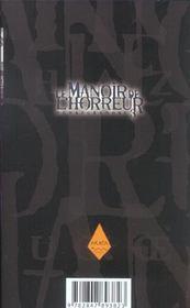 Le manoir de l'horreur t.3 - 4ème de couverture - Format classique