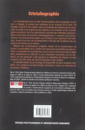 Cristallographie. 2eme Edition Revue Et Augmentee - 4ème de couverture - Format classique