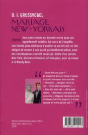 Mariage new-yorkais - 4ème de couverture - Format classique