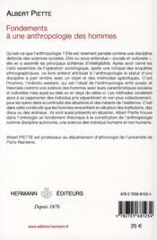 Fondements à une anthropologie des hommes - 4ème de couverture - Format classique