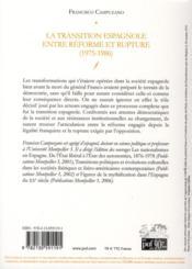 La transition espagnole entre reforme et rupture (1975-1986) - 4ème de couverture - Format classique