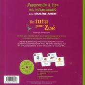 Un tutu pour Zoé - 4ème de couverture - Format classique