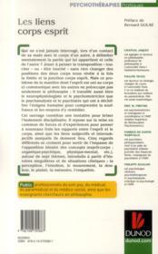 Les liens corps-esprit ; regards croisés à partir de cas cliniques - 4ème de couverture - Format classique