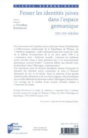 Penser les identités juives dans l'espace germanique, XIX-XXe siècles - 4ème de couverture - Format classique