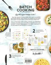 Batch cooking ; préparez 5 repas pour la semaine en 2h le dimanche ! - 4ème de couverture - Format classique