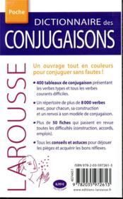 Dictionnaire Larousse des conjugaisons poche - 4ème de couverture - Format classique